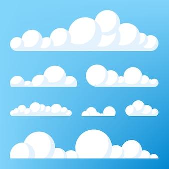 구름 아이콘, 구름 모양입니다. 다른 구름의 집합입니다. 구름 아이콘, 모양, 레이블, 상징의 컬렉션입니다. 그래픽 요소 벡터. 로고, 웹 및 인쇄용 디자인 요소