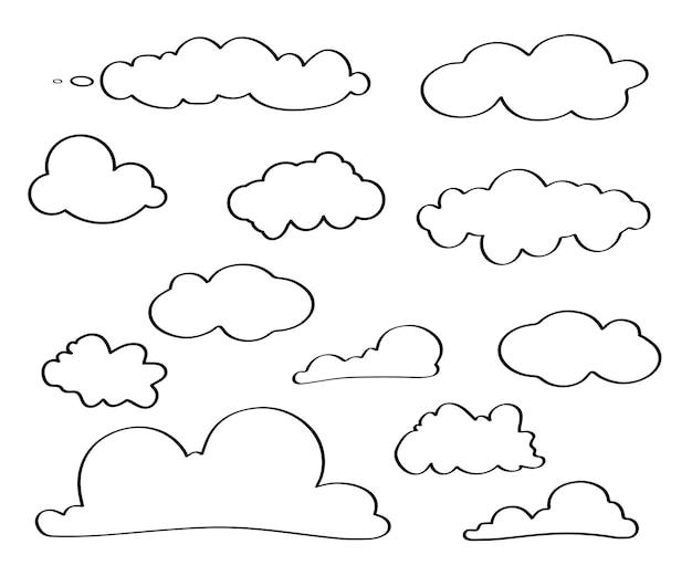 クラウドアイコン。雲線画アイコン。線または輪郭の異なる空のセット