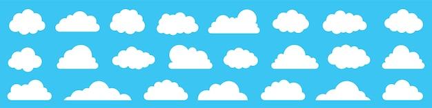 Cloud icon set on blue background.