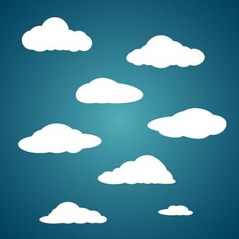Cloud icon set on blue gradient background vector illustration