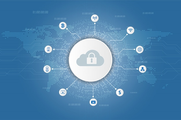 Cloud icon technology security digital data and security global network background