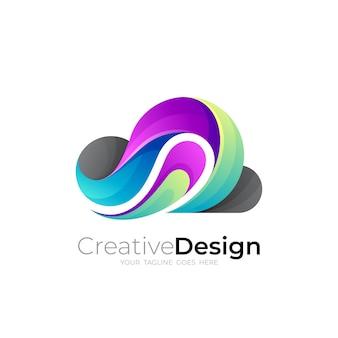 クラウドアイコンテンプレート、カラフルなスタイルのクラウドロゴ