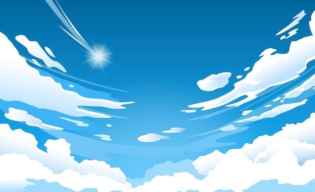 晴れた夏の日の青い天国の雲、流れ星と曇りの自然の朝のシーン
