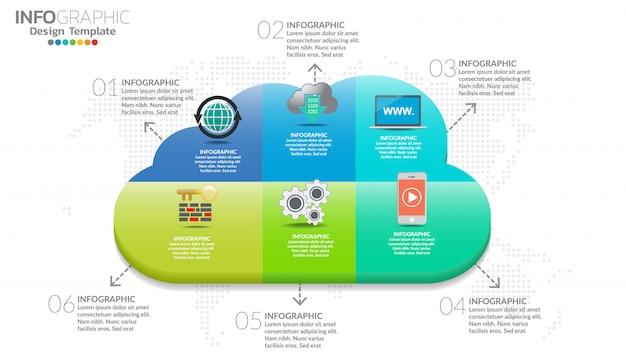 Облачная инфографика с элементами сетевой обработки данных.