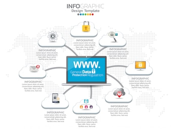 Cloud infographics set with data processing networking elements.