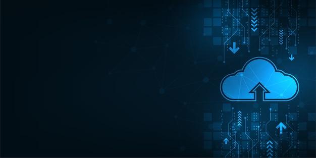 Облачный интерфейс, показывающий загрузку данных в интернет.