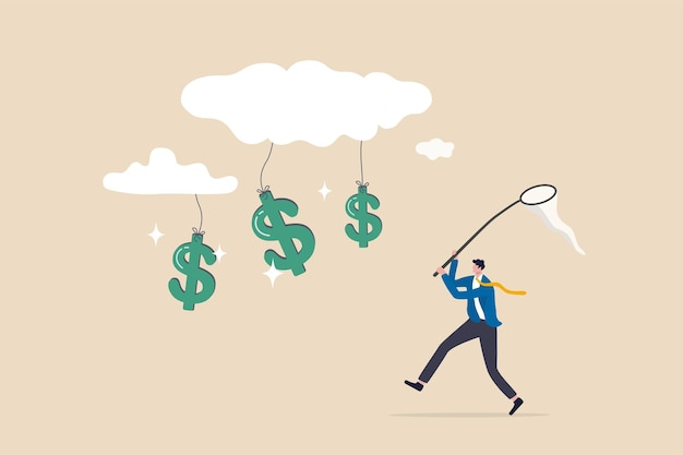 Cloud investment, new technology using cloud computing stock rising up and gain more profit in new normal economic concept, businessman investor catching dollar money sign falling from cloud.