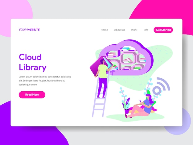 Cloud library illustration for web pages