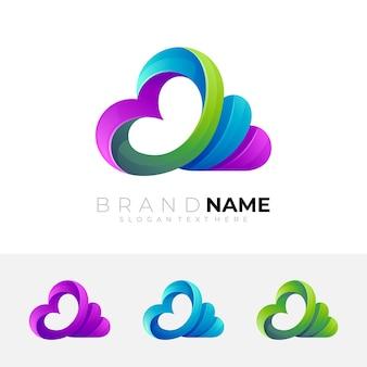 雲のロゴとカラフルなデザイン