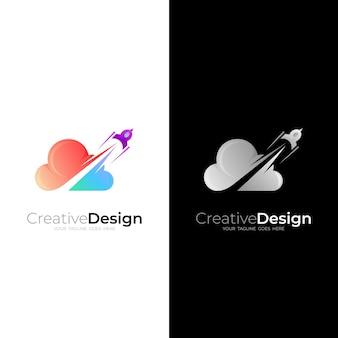 クラウドロゴとロケットデザインの組み合わせ、3dカラフルなデザイン、アップロゴ