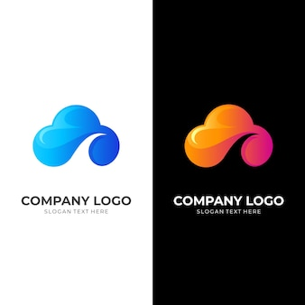 Cloud logo and wave design combination