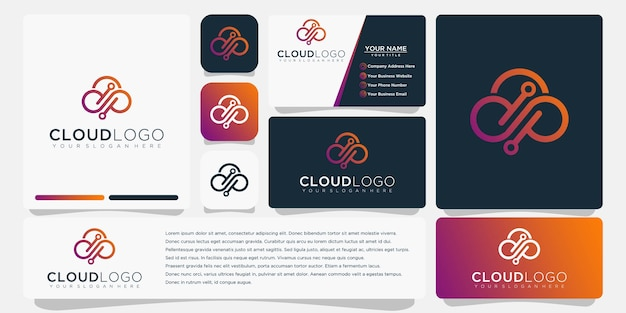Облако логотип с дизайном шаблона визитной карточки