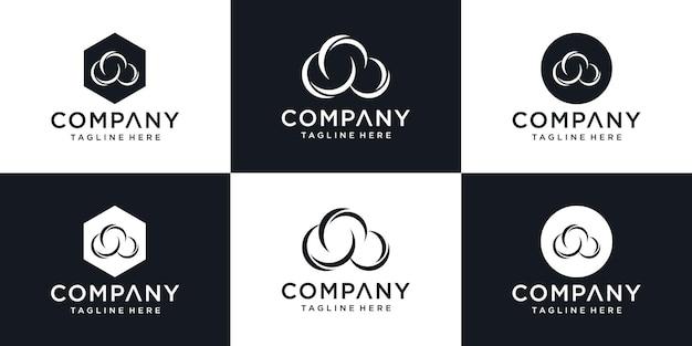 豪華な名刺テンプレートベクトルデザインとクラウドロゴ