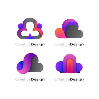 Cloud logo with colorful icon, 3d colorful