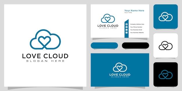雲の愛のロゴのベクトル線スタイル