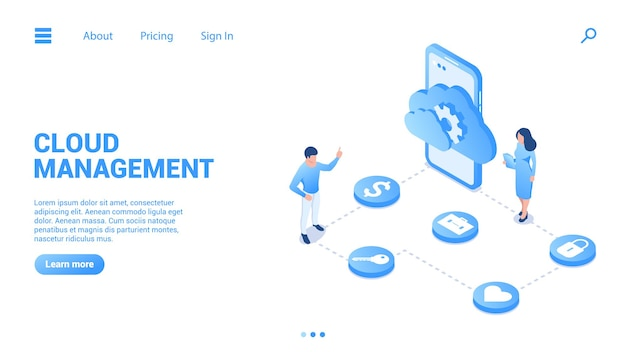 Cloud management concept digital data storage and its configuration