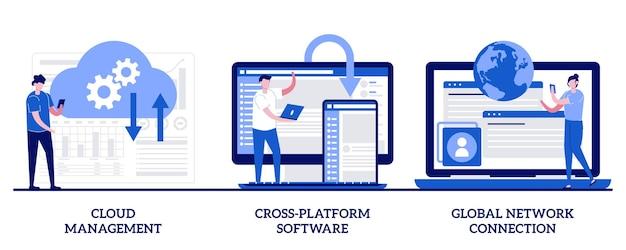 Управление облаком, кроссплатформенное программное обеспечение, концепция глобального сетевого подключения с крошечными людьми