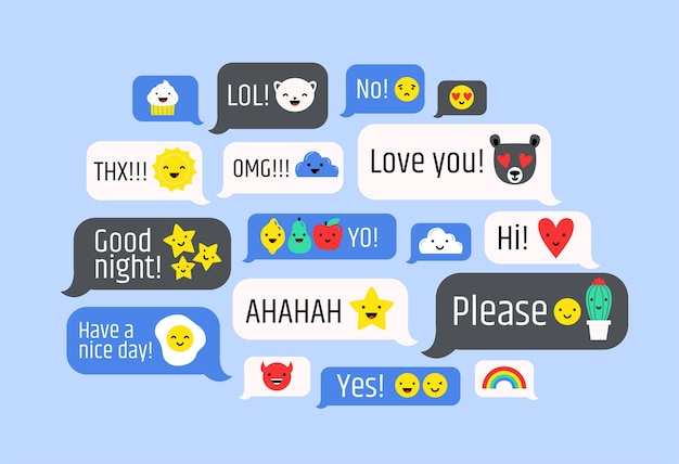 Cloud of messages with cute emoji. speech bubbles with text and smileys.