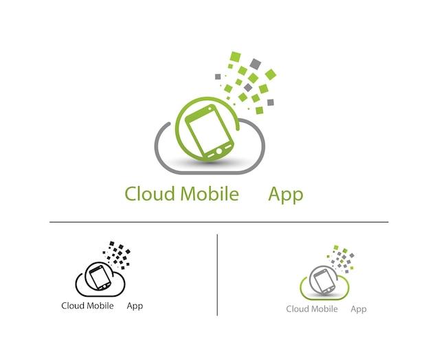 Логотип облачных мобильных приложений Premium векторы