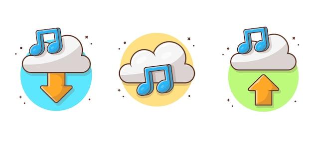 曲と音楽アイコンのメモとクラウド音楽コレクション。分離されたサウンドクラウドコンピューティングホワイト