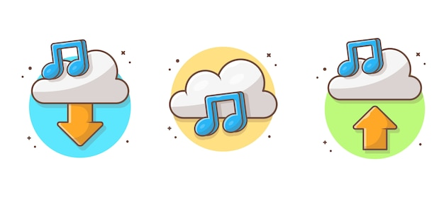 Cloud music collection with tune and note of music  icon . sound cloud computing white isolated