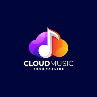 Cloud music gradient logo