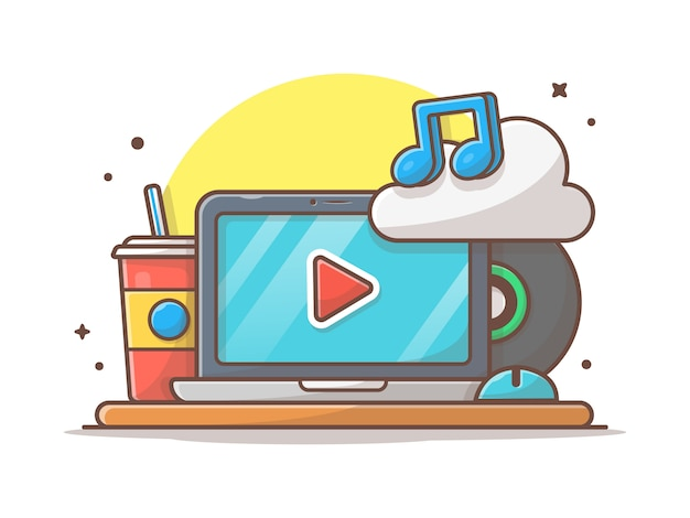 Cloud music icon with laptop, soda and note of music  . workspace sound cloud white isolated
