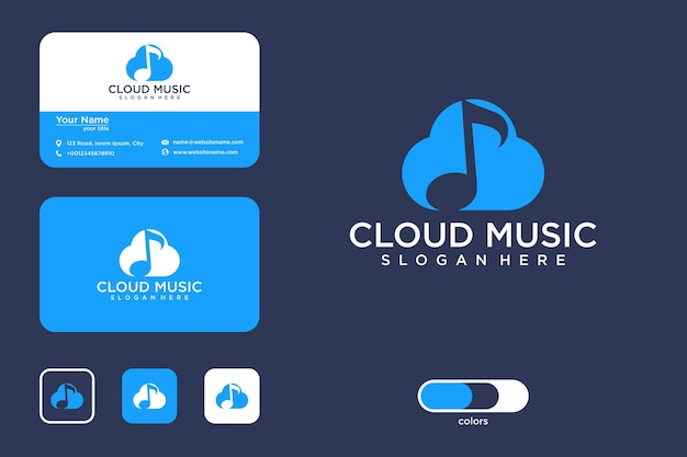 Cloud music logo design and business card