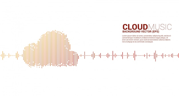 Cloud music and sound technology concept .equalizer wave as cloud shape