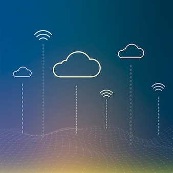 Sfondo del sistema di rete cloud per post sui social media