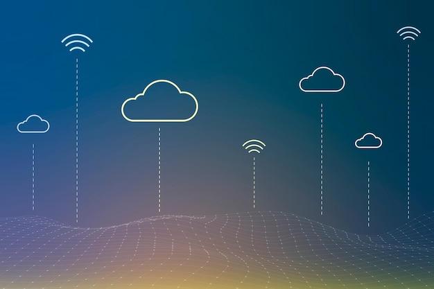 Vettore di sfondo del sistema di rete cloud per banner di social media