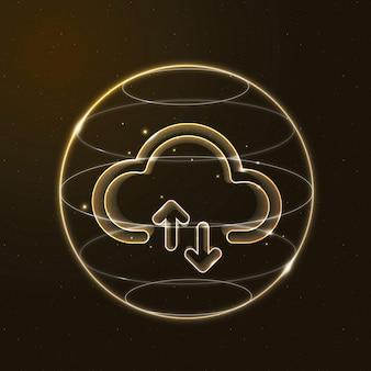 Значок облачных сетевых технологий в золоте на градиентном фоне