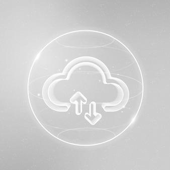 Icona della tecnologia di rete cloud in bianco su sfondo sfumato
