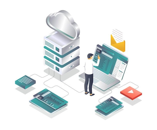 Cloud and network test application isometric illustration