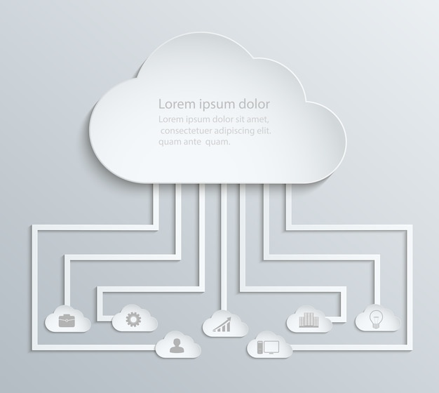 Cloud network with icons, paper economic infographics