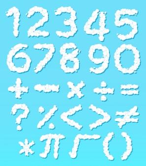 クラウド番号のフォントと数学のアイコン