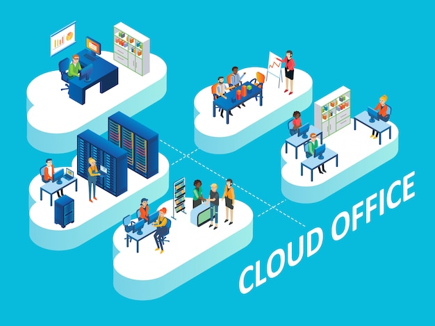 Cloud office concept isometric illustration