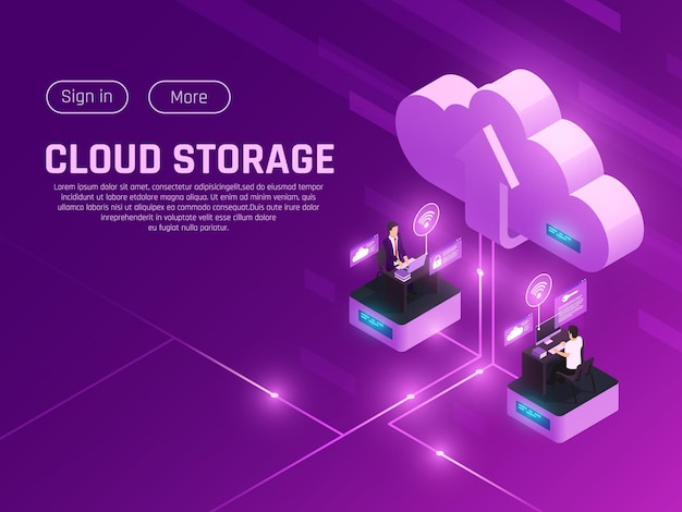 Cloud office glow isometric composition with editable text clickable buttons cloud pictogram and two modern workspaces