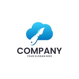Cloud and paintbrush, logo design inspiration