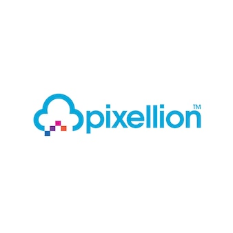 Логотип облачного пиксельного хостинга