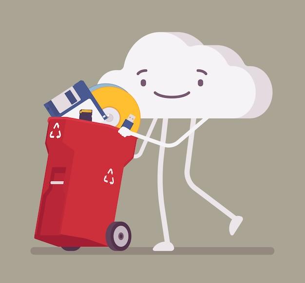 Облако толкает мусорное ведро со старыми хранилищами памяти