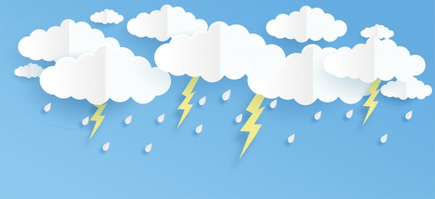 Cloud and rain on blue background in paper cut and craft style.