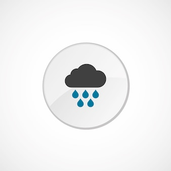 구름 비 아이콘 2 색, 회색 및 파란색, 원형 배지