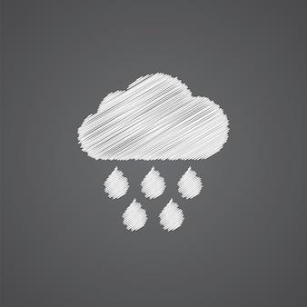 구름 비 스케치 로고 낙서 아이콘 어두운 배경에 고립