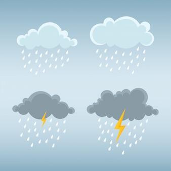 Cloud and rain, storm cloud with thunderbolt.