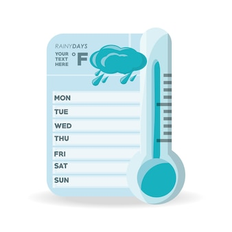 Cloud rain and thermometer of weather calendar