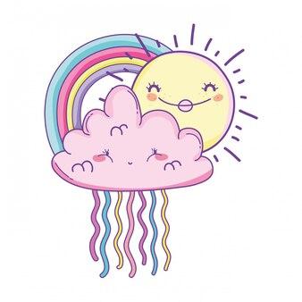 Cloud and rainbow cartoon