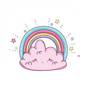 Cloud and rainbow cartoon