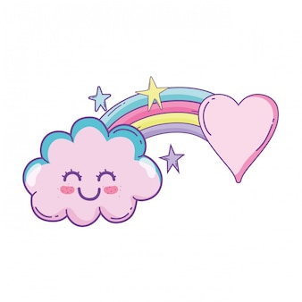 Cloud and rainbow cute cartoon