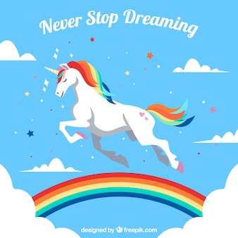 Cloud and rainbow sky background with pretty unicorn
